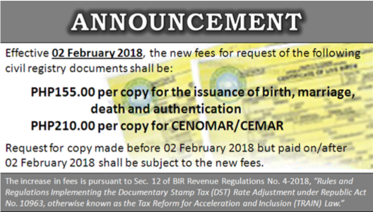 ANNOUNCEMENT NEW FEES CIVIL REGISTRY DOCUMENTS